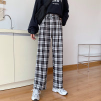 Women's large Summer 2021 Black and white check Khaki M [85-95 Jin] l [95-110 Jin] XL [110-130 Jin] 2XL [130-150 Jin] 3XL [150-170 Jin] 4XL [170-200 Jin] trousers singleton  commute easy moderate Solid color Korean version cotton Three dimensional cutting MKD-FY9083 Mikedo 18-24 years old Other 100%