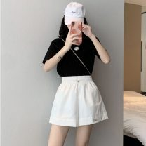 Women's large Spring 2021 White black violet S [75-85 Jin] m [85-95 Jin] l [95-110 Jin] XL [110-130 Jin] 2XL [130-150 Jin] 3XL [150-170 Jin] 4XL [170-200 Jin] trousers singleton  commute easy moderate Solid color Korean version MKD-XD6820 Mikedo 18-24 years old Other 100% shorts