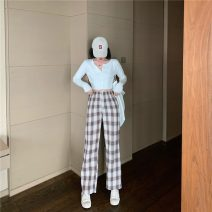 Women's large Spring 2021 Picture color L [95-110kg] 3XL [150-170kg] XL [110-130kg] 4XL [170-200kg] 2XL [130-150kg] trousers singleton  commute easy moderate lattice Korean version cotton MKD-KD651 Mikedo 18-24 years old Other 100% Pure e-commerce (online only) trousers