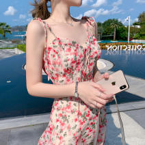 Dress Summer 2021 Suspender watercolor print dress short sleeve watercolor print dress S M L Short skirt singleton  Short sleeve commute V-neck High waist Decor Socket A-line skirt routine 18-24 years old Type A Yianya printing More than 95% other Other 100%