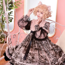 Dress Autumn 2020 Pink, black, milk pink, milk blue S,M,L,XL Mid length dress singleton  Long sleeves Sweet Doll Collar High waist Socket Princess Dress Princess sleeve Breast wrapping 18-24 years old Type A HIMESAMA HOLIDAY More than 95% cotton Lolita