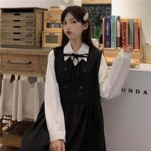 Dress Spring 2021 Black skirt + white shirt S,M,L,XL,2XL Mid length dress Two piece set Long sleeves Elastic waist other other straps 18-24 years old Other Bowknot, bandage, solid 71% (inclusive) - 80% (inclusive) polyester fiber