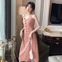 Dress Spring 2020 Black Pink S M L XL Mid length dress singleton  Sleeveless commute V-neck High waist Solid color Single breasted A-line skirt routine camisole 18-24 years old Type A Tong Mengni Korean version Button More than 95% other other Other 100% Pure e-commerce (online only)
