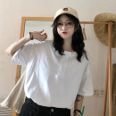 Women's large Spring 2020 M L XL XXL T-shirt singleton  commute easy thin Socket Short sleeve Solid color Korean version Crew neck Medium length Polyester cotton printing and dyeing routine Wanqin 18-24 years old Button Polyester 65% Cotton 30% polyurethane elastic fiber (spandex) 5%