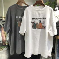Women's large Spring 2020 Grey white black M L XL T-shirt singleton  commute easy thin Socket Short sleeve Cartoon letters Korean version Crew neck Medium length Polyester cotton printing and dyeing routine Wanqin 18-24 years old Polyester 65% Cotton 30% polyurethane elastic fiber (spandex) 5%