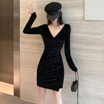Dress Autumn of 2019 black S M L XL Short skirt singleton  Long sleeves commute V-neck High waist Socket Pencil skirt routine Others 25-29 years old Dongmeifu Korean version fold More than 95% polyester fiber Polyester fiber 95% polyvinyl chloride (PVC) 5% Pure e-commerce (online only)