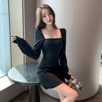 Dress Spring 2021 black S M L XL Short skirt singleton  Long sleeves commute square neck High waist zipper A-line skirt Others 18-24 years old Dongmeifu Splicing mesh bnthj9250 More than 95% polyester fiber Polyester fiber 95% polyvinyl chloride (PVC) 5% Pure e-commerce (online only)