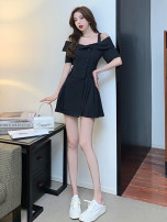 Dress Summer 2021 black S M L XL Short skirt singleton  elbow sleeve commute One word collar High waist double-breasted A-line skirt camisole 18-24 years old Dongmeifu Button brgnbe8117 More than 95% other Other 100% Pure e-commerce (online only)