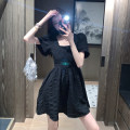 Dress Summer 2021 Lake blue black S M L XL Short skirt singleton  Short sleeve commute square neck High waist Socket A-line skirt puff sleeve Others 18-24 years old Dongmeifu Open back lace nhjhj7939 More than 95% polyester fiber Polyester fiber 95% polyvinyl chloride (PVC) 5%