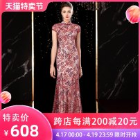 Dress / evening wear Wedding party company annual meeting performance S ml XL 2XL 3XL customized, no return, consult customer service Red long red short grace longuette middle-waisted Spring 2020 Fall to the ground stand collar zipper 36 and above Short sleeve Nail bead Solid color Irina  routine