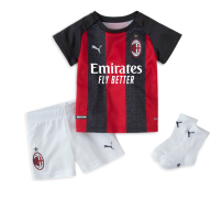 Football clothes 20-21ac Milan home children's wear free football socks, 20-21ac Milan home children's wear + printed message XXXS,XXS,XS,S,M,L,XL currency AC Milan Fans Short sleeve football suit