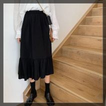 skirt Autumn of 2019 Average size Black-201 Mid length dress commute High waist Splicing style Solid color Type A 18-24 years old 30% and below other Korean version