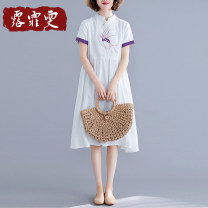 Dress Summer 2021 white M L XL 2XL longuette singleton  Short sleeve commute stand collar Loose waist Solid color Socket A-line skirt routine Others 30-34 years old Type A Lu feiwen literature Embroidery L210306-12 More than 95% other Other 100% Pure e-commerce (online only)