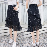 skirt Summer 2020 XS S M L XL 2XL Black star, white flower, poinsettia, purplish red Mid length dress commute High waist A-line skirt Decor Type A 25-29 years old EDIT71302 More than 95% Chiffon He Yiquan other Asymmetric ruffles Korean version Other 100% Pure e-commerce (online only)