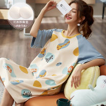 Nightdress Chen CAI M L XL XXL XXXL Sweet Short sleeve Leisure home Middle-skirt summer Broken flowers youth Crew neck cotton printing More than 95% other 220g Summer 2020 Other 100% Other 100%