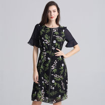 Dress Summer 2020 Navy Blue L,XL,XXL longuette singleton  elbow sleeve commute Crew neck High waist Broken flowers Socket other pagoda sleeve Others 40-49 years old Type X Bateru Korean version Screen, printing YJXA6515-1 More than 95% Chiffon polyester fiber