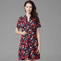 Dress Summer of 2019 Safflower on blue background L,XL,3XL,XXL Mid length dress singleton  Short sleeve commute V-neck middle-waisted Broken flowers zipper A-line skirt routine Others 40-49 years old Type A Bateru Korean version zipper YQXA4250-1 91% (inclusive) - 95% (inclusive) other