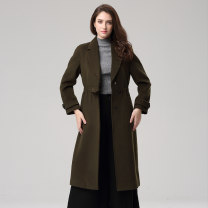 woolen coat Winter of 2019 L,XL,XXL green wool 30% and below Medium length Long sleeves commute Single breasted routine tailored collar Solid color Self cultivation Britain YIDC4025-1 Bateru 40-49 years old Button Solid color polyester fiber