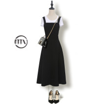 Dress Autumn 2020 S M L XL 2XL 3XL Mid length dress Two piece set Sleeveless commute High waist Solid color Socket A-line skirt camisole 25-29 years old Type A Man Yi (clothing) Korean version More than 95% polyester fiber Other polyester 95% 5% Pure e-commerce (online only)