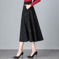 skirt Autumn 2020 Mid length dress Versatile High waist A-line skirt Decor Type A 91% (inclusive) - 95% (inclusive) knitting polyester fiber Polyethylene terephthalate (PET) 95% polyurethane elastic fiber (spandex) 5% Pure e-commerce (online only)