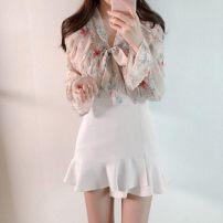 skirt Spring 2021 M,2XL,XS,S,L,XL,XXS,3XL White, black Short skirt High waist Ruffle Skirt 30% and below Ruffles, zippers