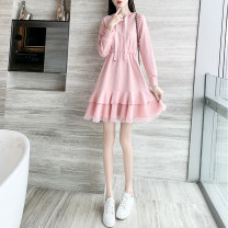 Dress Spring 2021 Pink S M L XL Mid length dress singleton  Long sleeves commute Hood Loose waist Solid color Socket Ruffle Skirt routine Others 25-29 years old Type A Xiaoshan Korean version Lotus leaf edge Z19e94LP More than 95% other other Other 100% Pure e-commerce (online only)
