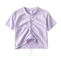 T-shirt Purple, blue, white, black, gray, pink S, M Summer 2020 Short sleeve Crew neck have cash less than that is registered in the accounts routine Sweet cotton 71% (inclusive) - 85% (inclusive) 18-24 years old