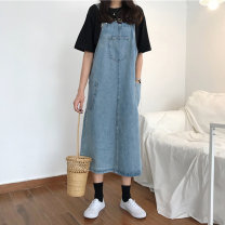 Women's large Summer 2020 blue L [suggested 110-120 kg] XL [suggested 120-140 kg] XXL [suggested 140-160 kg] XXL [suggested 160-180 kg] XXXXL [suggested 180-200 kg] s [suggested 85-95 kg] m [suggested 95-110 kg] Dress singleton  commute Straight cylinder moderate Sleeveless Solid color Korean version