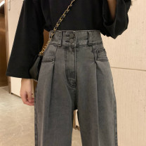 Women's large Spring 2020 Jeans singleton  commute Straight cylinder moderate Solid color Korean version Denim Three dimensional cutting DBTs (clothing) 18-24 years old pocket 71% (inclusive) - 80% (inclusive) Other 100% Pure e-commerce (online only) trousers
