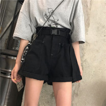 Women's large Summer 2020 Khaki [belt] black [belt] S [recommended 85-95 Jin] m [95-110 Jin] l [110-120 Jin] XL [120-140 Jin] XXL [140-160 Jin] XXL [160-180 Jin] XXXL [180-200 Jin recommended] Jeans singleton  commute easy moderate Solid color Korean version Denim cotton others dbts-6325. belt shorts