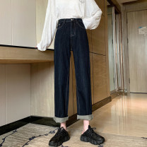 Women's large Autumn 2020 navy blue Jeans singleton  commute easy Solid color Korean version Denim cotton others Three dimensional cutting DBTs (clothing) pocket 71% (inclusive) - 80% (inclusive) Other 100% Pure e-commerce (online only) trousers
