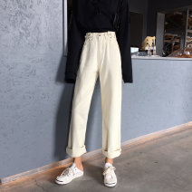 Women's large Spring 2020 S [recommended 85-95 Jin] m [95-110 Jin] l [110-120 Jin] XL [120-140 Jin] XXL [140-160 Jin] XXL [160-180 Jin] XXXL [180-200 Jin recommended] Jeans singleton  commute Straight cylinder moderate Solid color Korean version Three dimensional cutting DBTs (clothing) Button