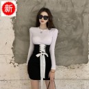Dress Autumn 2020 White T-shirt + black tunic skirt S,M,L Short skirt Two piece set Long sleeves commute Crew neck High waist Solid color Socket Pencil skirt routine Breast wrapping 18-24 years old Type X Other / other Retro Lace up, stitching S4455 brocade polyester fiber