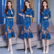 Women's large Autumn 2020 M L XL XXL XXXL Dress singleton  commute Self cultivation moderate Socket Nine point sleeve Plants and flowers Retro Half high collar Three dimensional cutting routine 30-34 years old Button Medium length Other 100% Pure e-commerce (online only) Ruffle Skirt Lotus leaf edge