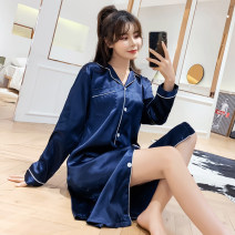 Nightdress Other / other XMZ - Long sleeve and long skirt # Pure blue 160(M),165(L),170(XL),175(XXL),3XL Sweet Long sleeves pajamas longuette autumn Solid color youth Small lapel Polyester (polyester) printing More than 95% silk