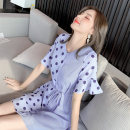 Dress Summer 2020 S M L XL Mid length dress singleton  Short sleeve commute V-neck High waist Dot Socket A-line skirt Lotus leaf sleeve Others 25-29 years old Type A Xi Sue Frenulum splicing wave point E19a99 More than 95% other Other 100% Pure e-commerce (online only)