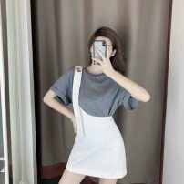 Women's large Summer 2021 Suspender skirt + top [Hong Kong style suit women's Retro chic / Fashion age reducing suit] Dress Two piece set commute easy moderate Socket Short sleeve Solid color Korean version Crew neck routine other routine ERQ1HHFggTq Tangyaduo 18-24 years old 96% and above Other 100%