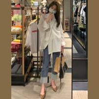 Women's large Summer 2021 Shirt [2021 spring / summer spring and autumn spring mm fat [Korean version] jeans [salt and sweet two piece / thin shading meat / early spring wear] shirt + jeans [port wind set women retro chic/ fashion age reduction suit] Two piece set commute easy thin Cardigan routine
