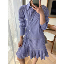 Dress Spring 2020 Blue stripe S,M,L Mid length dress singleton  Long sleeves commute square neck Loose waist stripe Socket Pleated skirt other 25-29 years old Type H Korean version Q5602 brocade cotton