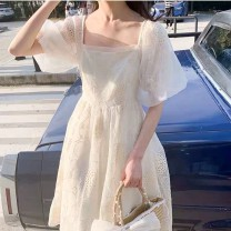 Dress Summer 2020 Litchi white S M L Mid length dress singleton  Short sleeve commute square neck middle-waisted Decor zipper Princess Dress puff sleeve Others 18-24 years old Type X Shi Qisi court Embroidered mesh zipper More than 95% other Other 100% Pure e-commerce (online only)