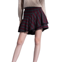 skirt Autumn of 2019 Red grey check Short skirt Sweet High waist A-line skirt lattice Type A 35-39 years old other L'orfeo / ofio Same model in shopping mall (sold online and offline) college