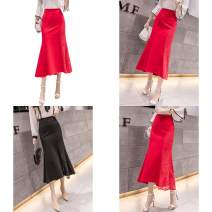 skirt Spring 2020 S,XL,2XL,3XL,4XL,5XL,L,M Black, red longuette commute High waist A-line skirt Solid color Type A 18-24 years old SU2707 51% (inclusive) - 70% (inclusive) Lace other Ruffle, three-dimensional decoration, asymmetry, zipper, resin fixation, splicing, lace Korean version
