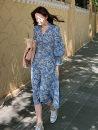Pajamas / housewear set female Other / other S,L,M Blue print, black print wool Broken flowers longuette