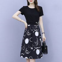 Dress Summer 2021 White yellow L XL 2XL 3XL 4XL 5XL Mid length dress singleton  Short sleeve commute Crew neck Abstract pattern Ruffle Skirt routine Others 30-34 years old Looking for sleeves lady Three dimensional decoration More than 95% other Other 100% Pure e-commerce (online only)