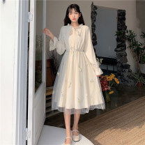 Dress Summer 2021 Apricot green Average size longuette singleton  Long sleeves commute Crew neck High waist Solid color Socket A-line skirt routine Others 18-24 years old Type A I love you Korean version bow 51% (inclusive) - 70% (inclusive) Chiffon polyester fiber Polyester 60% other 40%