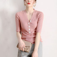 Wool knitwear Spring 2020 S M L XL Black apricot pink camel custom elbow sleeve singleton  Socket wool 31% (inclusive) - 50% (inclusive) Regular Thin money commute Self cultivation V-neck routine Solid color Socket Ol style 5006-700168-651211 25-29 years old Bensu