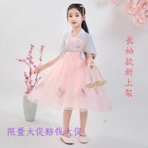 Children's performance clothes Pink short sleeve Pink Long Sleeve female 110cm 120cm 130cm 140cm 150cm 160cm bica  Class B LC-20-12 Polyester 100% Chiffon Summer 2020