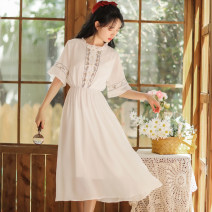 Dress Summer 2020 White, blue S,M,L,XL Mid length dress singleton  Short sleeve Sweet other High waist Solid color Socket other other Others 18-24 years old Type A Embroidery 71% (inclusive) - 80% (inclusive) other other Mori
