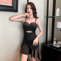 Dress Summer 2021 black S,M,L Short skirt singleton  Sleeveless commute V-neck High waist other Socket Ruffle Skirt camisole Type H Korean version Ruffle, stitching, zipper