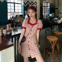 Dress Spring 2021 S,M,L,XL Short skirt singleton  Short sleeve commute square neck High waist lattice Single breasted A-line skirt routine 18-24 years old Type A Button 81% (inclusive) - 90% (inclusive) brocade polyester fiber